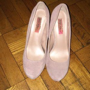 Betsey Johnson Blush Suede Platform Heels